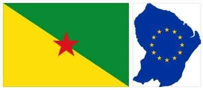 French Guyana Flag and Map