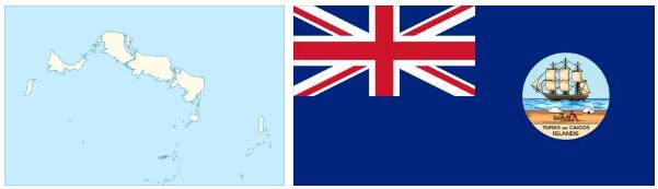 Turks and Caicos Islands Flag and Map
